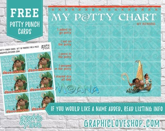 Printable Moana and Maui Potty Training Chart, FREE Punch Cards | Disney | High Resolution JPG File, Instant Download, Files NOT Editable