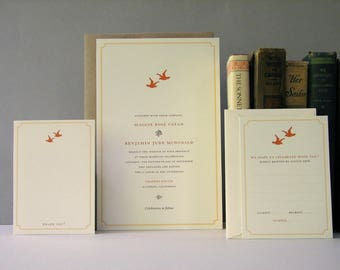 Love Birds Vintage Rustic Wedding, Event Invitations, Cream orange invites, classic invitation, charming invite, rustic invitation, woodland