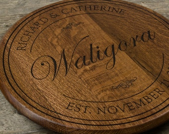 Personalized wedding gift wine barrel lazy susan personalized gift wedding welcome sign wall decor anniversary gift housewarming gift