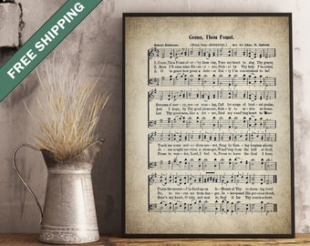 Come Thou Fount Hymn Print Print - Sheet Music Art - Hymn Art - Hymnal Sheet - Home Decor - Music Sheet - Print - #HYMN-P-019