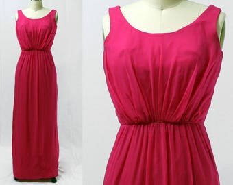 Vintage 1960s Miss Elliette Fuschia Pink Sheath Dress / Size XS