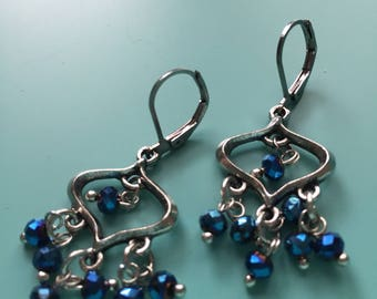 Silver Earrings / Dangle Earrings / Boho Earrings / Vintage Earrings / Beach Earrings/ Chandileer Earrings/ Cluster Earrings/ Blue Earrings