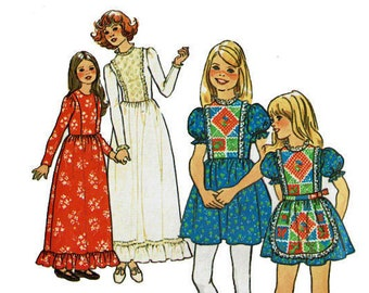 Girls Dress with Apron 1970s UNCUT Vintage Sewing Pattern Simplicity 7242 Size 10 Breast 28 1/2 70s boho chic dresses for girls