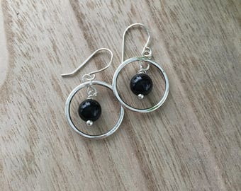 Silver Circle Earrings with Black Onyx Stone