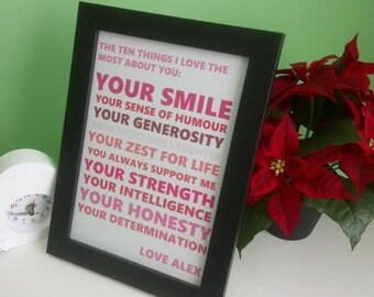 Custom/Personalised Things I Love About You Word Art Poster