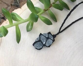 Raw Celestite Crystal Necklace - Macrame Hemp Wrapped Stone - Celestine Crystal Pendant - Boho Crystal Necklace - Hippie Style Jewelry