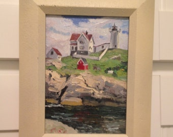 Nubble Lighthouse , Original oil painting on wood, York, Maine, Nubble Light House