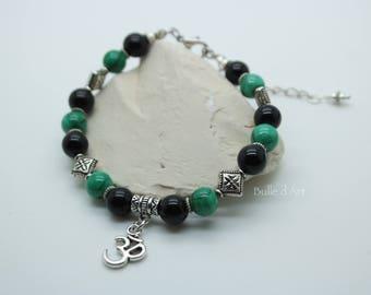 Bracelet stones Malachite and onyx & the Ohm symbol