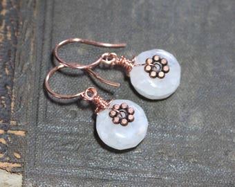 Moonstone Earrings White Gemstone Earrings Copper Earrings Rustic Jewelry