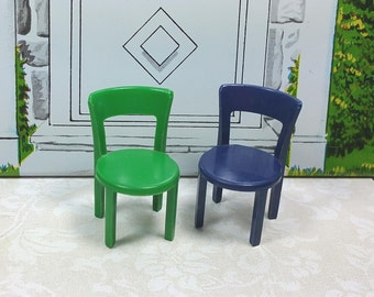"""MARX PATIO CHAIRS, Set of Two, Hard Plastic, Traditional 1/2"""" Scale, 1950's, Vintage Tin Dollhous"""