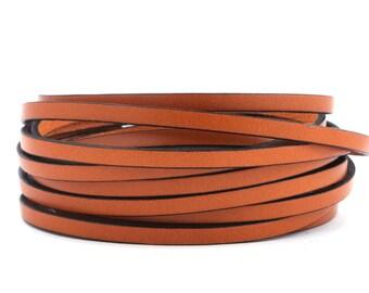 Flat leather strap (black ochre Edge), 5 mm 2 | High-quality calf leather 1 m / 2 m / 3 m