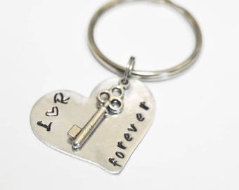 Anniversary Keychain, Key to my Heart, Couples Keychain, Personalized Keychain, Anniversary Gift, Anniversary Date Keychain,