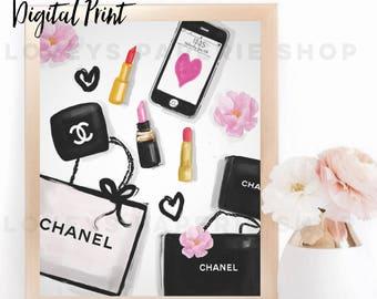 FASHION ILLUSTRATION-Digital Art Chanel Noir-Black Gold  Pink Chanel Fashion Print for the Home Girl Boss Watercolor