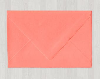 10 A8 Envelopes - Euro Flap - Coral & Peach - DIY Invitations - Envelopes for Weddings and Other Events