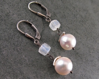 Akoya pearl and moonstone earrings-handmade OOAK fine silver and sterling silver jewelry