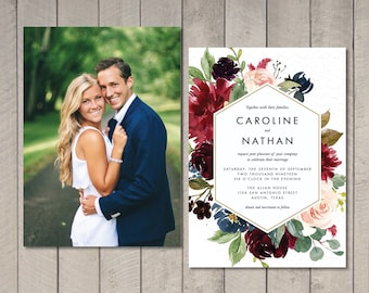 Merlot Watercolor Floral Wedding Invitation, RSVP, Details Card (Printable) by Vintage Sweet