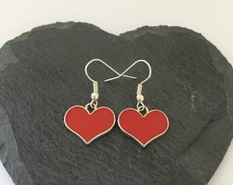 Red heart earrings / heart earrings / heart jewellery / heart gift / Valentine's Day gift / valentines earrings / valentines jewellery