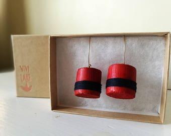 Wooden earrings - reclaimed wood - wood earrings - handmade jewelry - vintage upcycled - solid silver earrings - drop earrings - red navy
