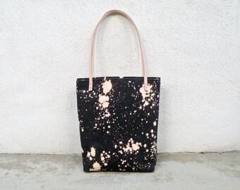 Black Canvas Tote Bag, HandDyed Purse, One of a Kind Shoulder Bag, Unique Evening Bag, Market Bag, Diaper Bag, Day Bag, Bleach Dye, Handmade