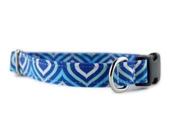 Blue Dog Collar - Boy Dog Collar - Royal Blue Waves Dog Collar - Navy Blue Dog Collar - Teal and Navy Dog Collar - White Dog Collar
