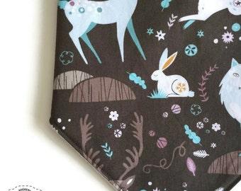 Bib/ Bandana / Bibdana Scarf Baby Girl Boy Unisex Brown Blue Purple Deer Fox Woods Spring