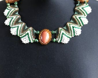 Green bead necklace, tribal necklace, aztec necklace, seed bead necklace, orange beaded necklace, statement necklace, gift for woman, unique
