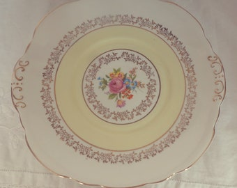 Stunning Vintage English Bone China Yellow and Gold Floral Detail Bone China Cake Plate-Perfect for afternoon tea