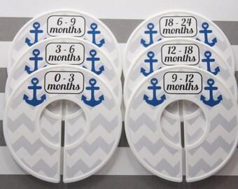 Custom Baby Closet Dividers Gray Chevron Navy Anchors Nautical Closet Dividers Baby Shower Gift Closet Organizer