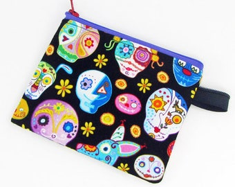 Sugar skulls, credit card case, change purse, business card holder, coin wallet, womens change purse, credit card wallet, minimalist wallet