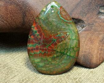 Sale #EarthDay ~ Green Dragon Veins on Warm Rust Agate Druzy Teardrop
