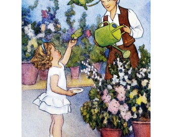Little Girl Helping Granny - Greeting Card Repro Susan B. Pearse