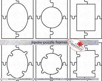 Jigsaw Puzzle Frames Template PDF and Clipart SET: (300 dpi) School Teacher Clip Art Puzzle Game