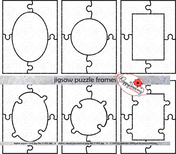 jigsaw puzzle frames template pdf and clipart set 300 dpi