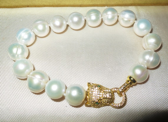 Lovely new handmade genuine 12-13mm South Sea baroque white pearl bracelet gold panther clasp