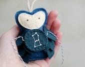 ORION Ornament Felt Owl. Embroidered Zodiac Gift.