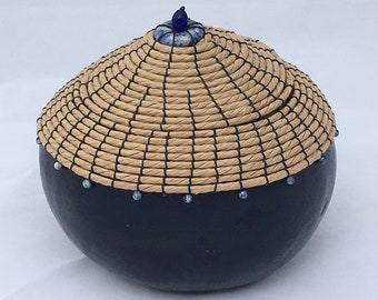 Navy Lidded Gourd with Lapis Beads - Item 800