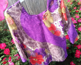 Mother Daughter Matching - Women's Fancy Lined Sari Silk Blouse Shirt - Purple Floral - Jette H783