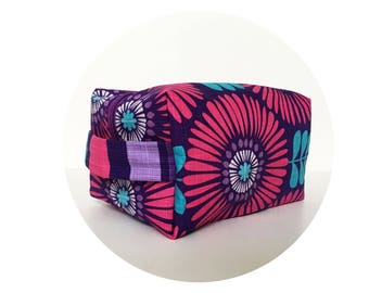 Large Waterproof Cosmetic Bag. Makeup Bag. Bright Pink & Purple Floral Print Bag. Toiletry Bag. Zippered Bag.