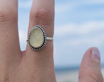 SALE-Mermaid's Tears Ring   Yellow Sea Glass Ring   Sterling Silver Ring Size 7.5   Mermaid Jewelry   Mermaid Ring   Beach Glass Ring-SALE