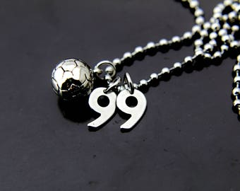 Soccer Girl Gift Silver Soccer Ball Charm Necklace Soccer Necklace Soccer Team Gift Personalized Necklace Number Charm