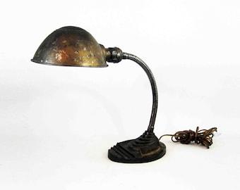 Vintage Art Deco Gooseneck Desk Lamp with Cast Iron Base. Circa 1930's.