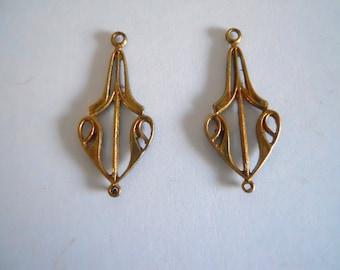 Pair Vintage Brass Ox Connectors