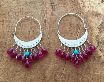 Sterling Silver Crescent Moon Earrings | Rubellite Tourmaline | Turquoise | Hoop Earrings | Bohemian | Gemstone