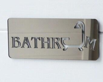 Bathroom & Shower Bronze Acrylic Mirrored Door Sign