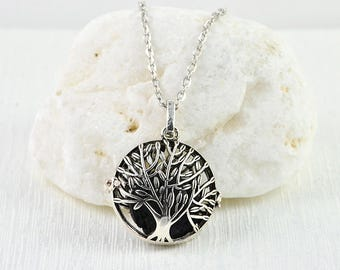 Tree Aromatherapy Diffuser Necklace, Essential Oil Lava Stone Locket Tree Pendant Necklace, Tree Silver Necklace, Oil Diffuser Tree Necklace
