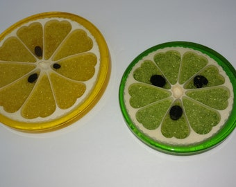 Vintage 1967 Gamma Associates lemon and lime trivet set of 2 made of resin