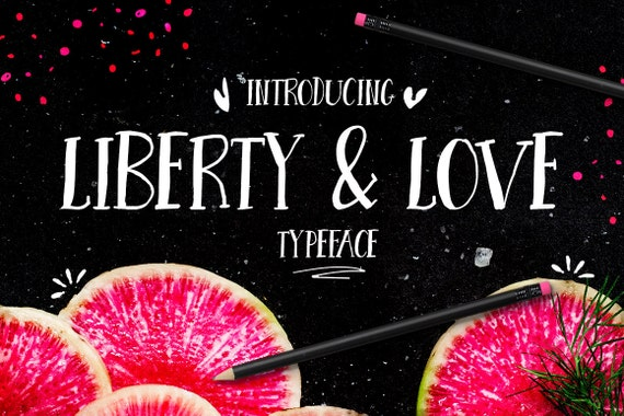 Digital Font Liberty and Love - Digital Typeface - Hand drawn all caps font - Instant Download