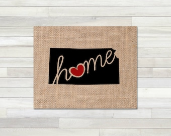"""Kansas (KS) """"Love"""" or """"Home"""" Burlap or Canvas Paper State Silhouette Wall Art Print / Home Decor (Free Shipping)"""