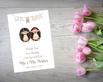 Personalised Wedding Thank You Cards with Matching Envelopes Pack Of 10 TY120