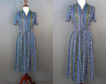 60's Shirtwaist Dress.....60's Cool Tone Abstract Print Silky Poly Shirtwaist Dress
